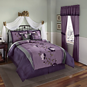Patricia Purple Embroidered Bed Set Valance And Panel Pair