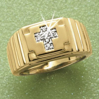 MenS Diamond Cross Ring