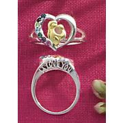 "Birthstone Ring, Two-Tone ""I Love You"" Mom & Child"