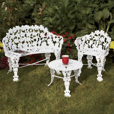 Cast Iron Outdoor Table and Chair