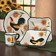 Dinnerware 16 Pc Hand Painted Rooster Sunflower Set