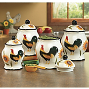 Canisters Set Of 4 Hand Painted Rooster Sunflower