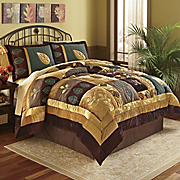 Velvet Leaf Appliqued Quilt Sham And Window Treatments