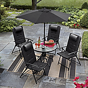 6 pc Patio Table Set With Folding Chairs And Umbrella