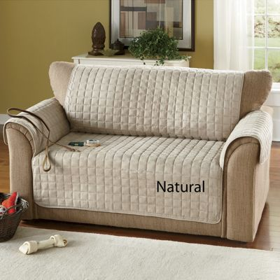 Box Quilted Faux Suede Furniture Covers