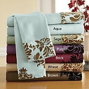 Floral Flocked Microfiber Sheet Set