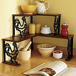 Cast Iron Rooster Corner Shelf