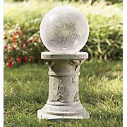 Crackled Glass Gazing Ball On Pedestal