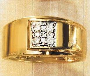 MenS Square Diamond Cluster Ring