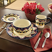 16 pc Oversized Hand painted Mediterranean Dinnerware Set
