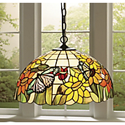 Pendant Lamp Stained Glass Sunflower Butterfly