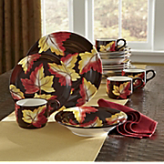 Dinnerware 16 Pc Hand Painted Fall Leaves Set