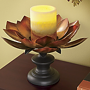 Glossy Leaf Candleholder And Led Candle