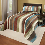 Bedspread and Sham Striped Cotton Chenille Collection