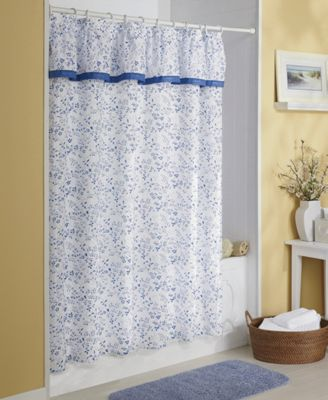 Shower Curtain, Plisse with Attached Ruffled Valance from ...