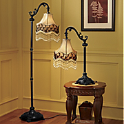 Victorian Shade Table And Floor Lamps