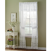 lacey window panels with attached valance