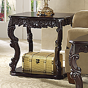 carved curved end table