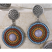 Post Earrings Multistrand Medallion Earrings