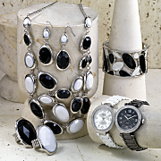 Black and White Jewelry and Crystal Bracelet Watch