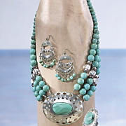 faux turquoise medallion necklace