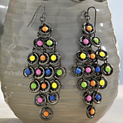 neon gunmetal earrings