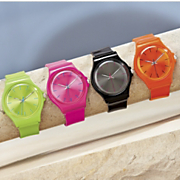 neon round rubber strap watch