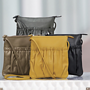 rouched leather handbag