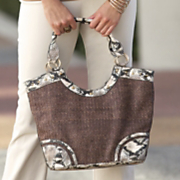 straw handbag with faux snakeskin trim