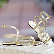 metallic ankle strap sandal by monroe and main