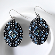 oval blue crystal earrings