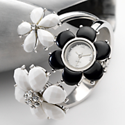 black and daisy hinged bangle watch