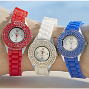 crystal round rubber strap watch