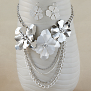 floral crystal necklace and earring set