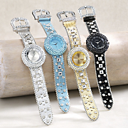 round crystal stud buckle strap watch