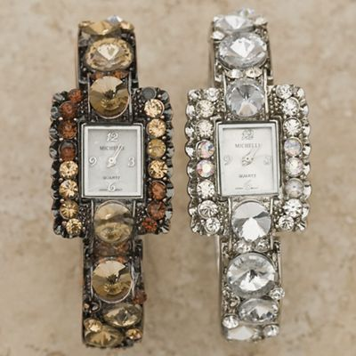 Rectangle Watch With Crystals