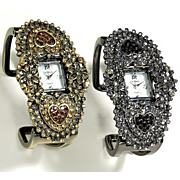 Crystal Heart Hinged Cuff Watch