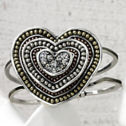 Loving Hearts Tri color Hinged Bangle