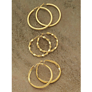 Earrings 3 Pair Large Hoops
