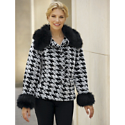 Houndstooth Faux Fur Jacket