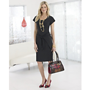 Seasonless Stretch Dress Wire Coil Jewelry Animal Print Handbag and Multi Strip Pump
