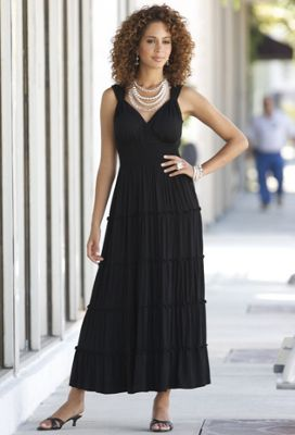 Tiered Maxi Dress Beaded Jewelry and Callie Slide