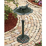 solar lighted birdbath