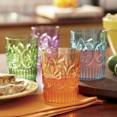 Set Of 4 Embossed Acrylic Tumblers