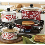 GinnyS Brand Cookware 7 Pc Red and White Floral Set