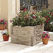 stone look planter surround