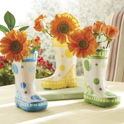 Polka Dot Boot Vase