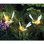 solar welcome bee set of 2 smaller bees