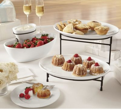 2 tier oval plate server set