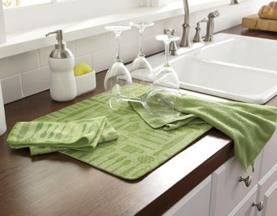3 pc kitchen utensil towel mat set